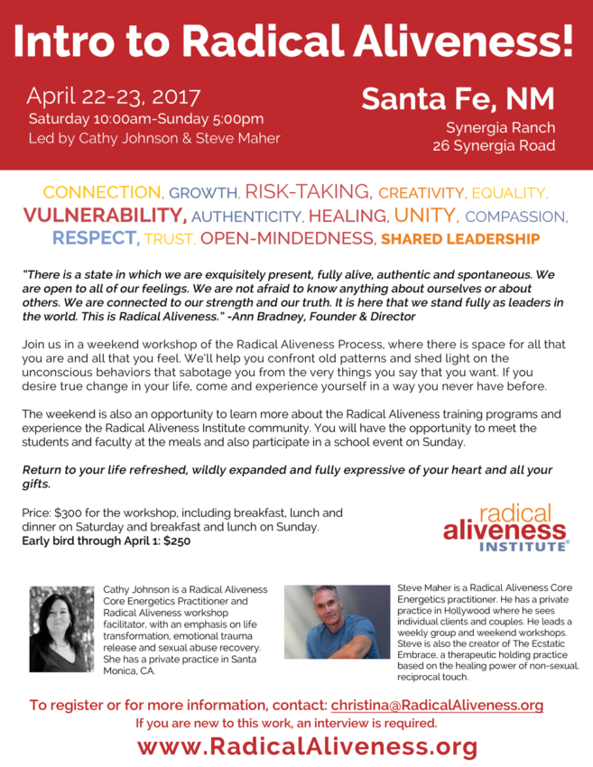 RADICAL ALIVENESS WORKSHOP SANTA FE, NM @ Synergia Ranch | Santa Fe | New Mexico | United States