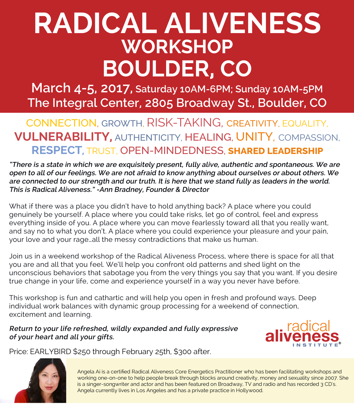 RADICAL ALIVENESS WORKSHOP BOULDER, CO with Angela Ai @ The Integral Center | Boulder | Colorado | United States