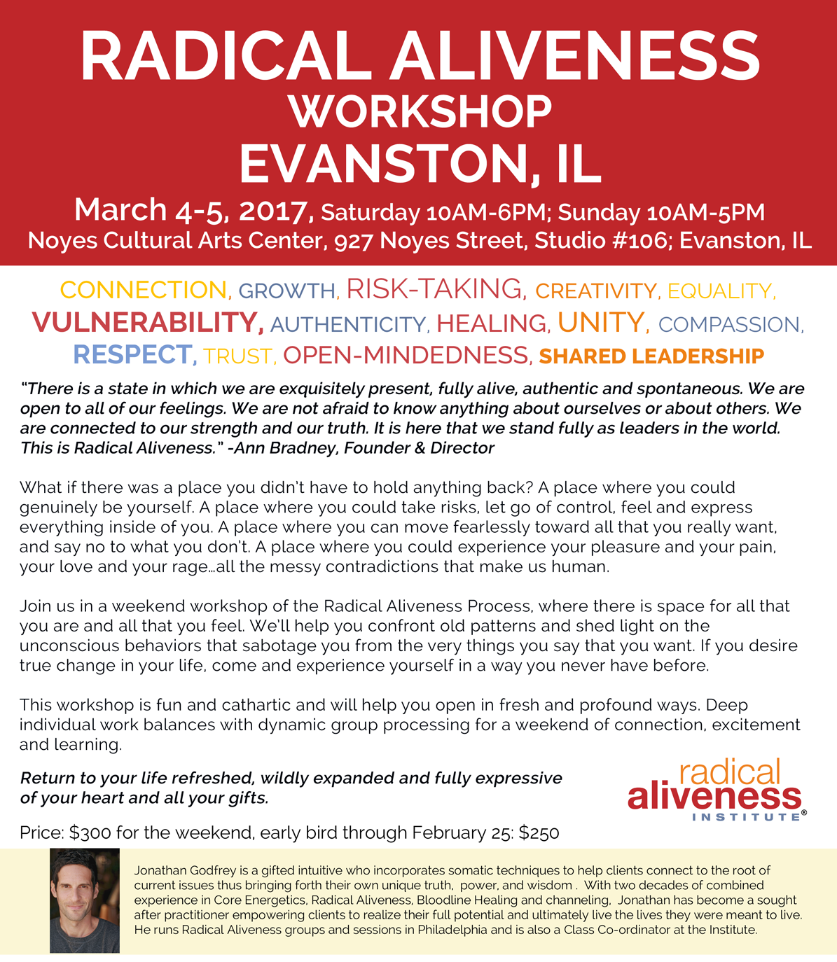 RADICAL ALIVENESS WORKSHOP EVANSTON, IL with Jonathan Godfrey @ Noyes Cultural Arts Center | Evanston | Illinois | United States