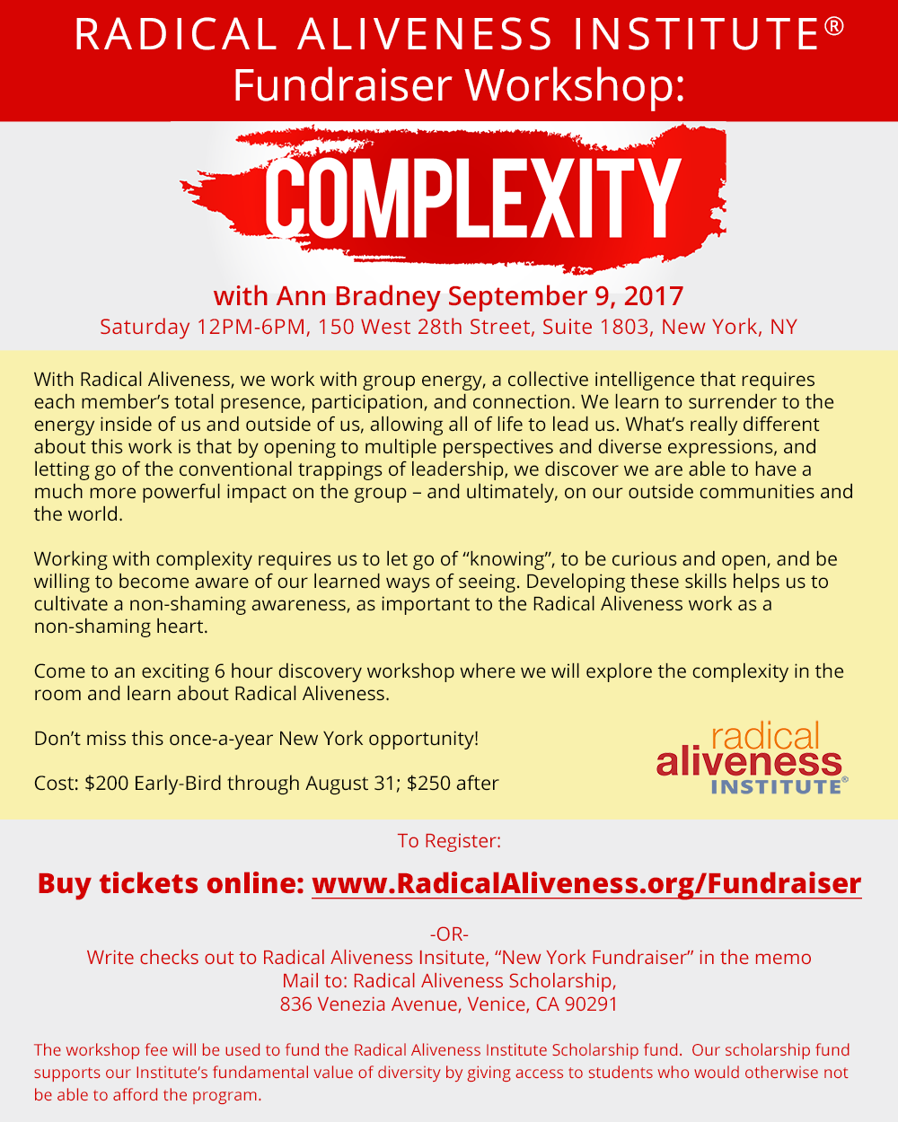 Radical Aliveness Fundraiser Event: Complexity (New York, NY) @ New York | New York | United States
