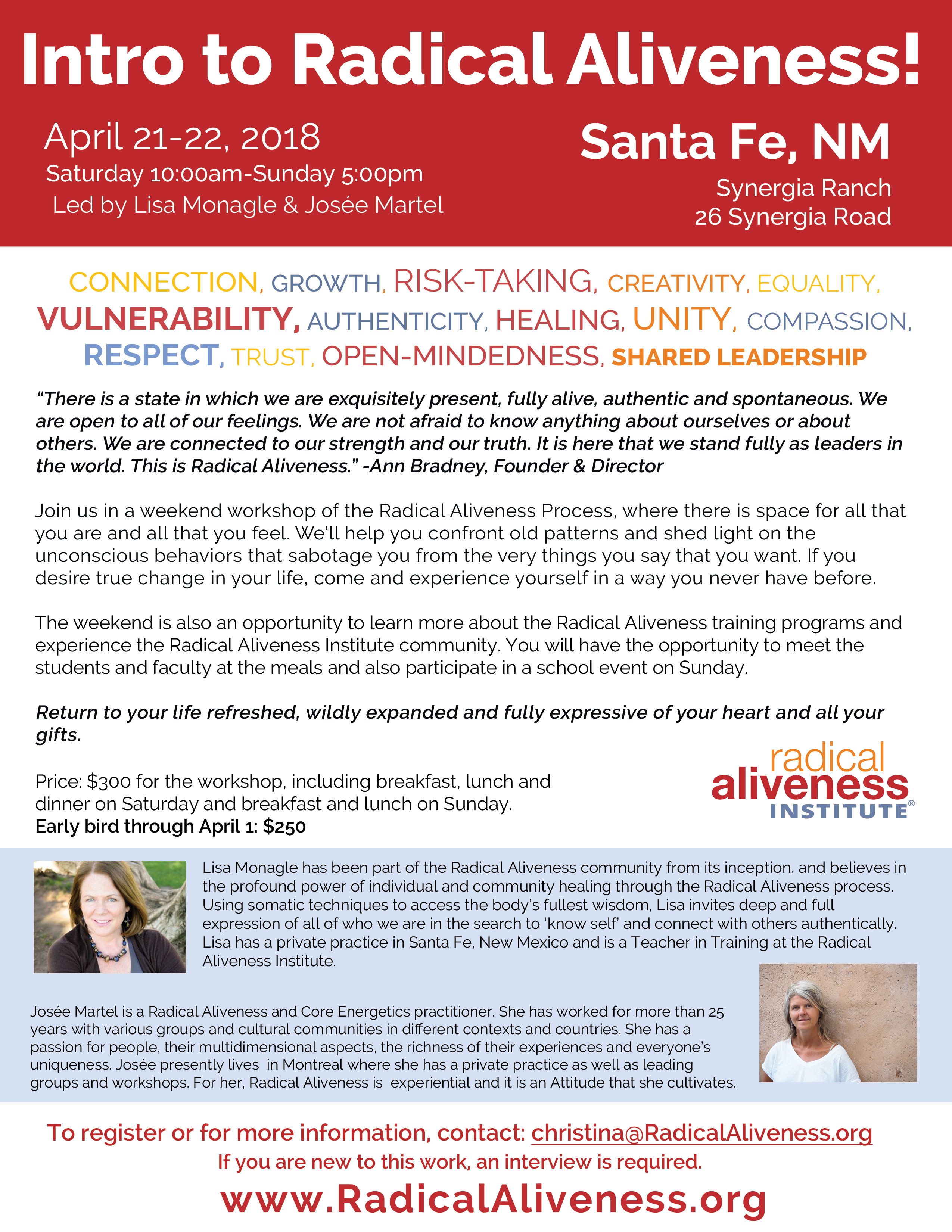 Intro to Radical Aliveness: Santa Fe, NM @ Synergia Ranch  | Santa Fe | New Mexico | United States