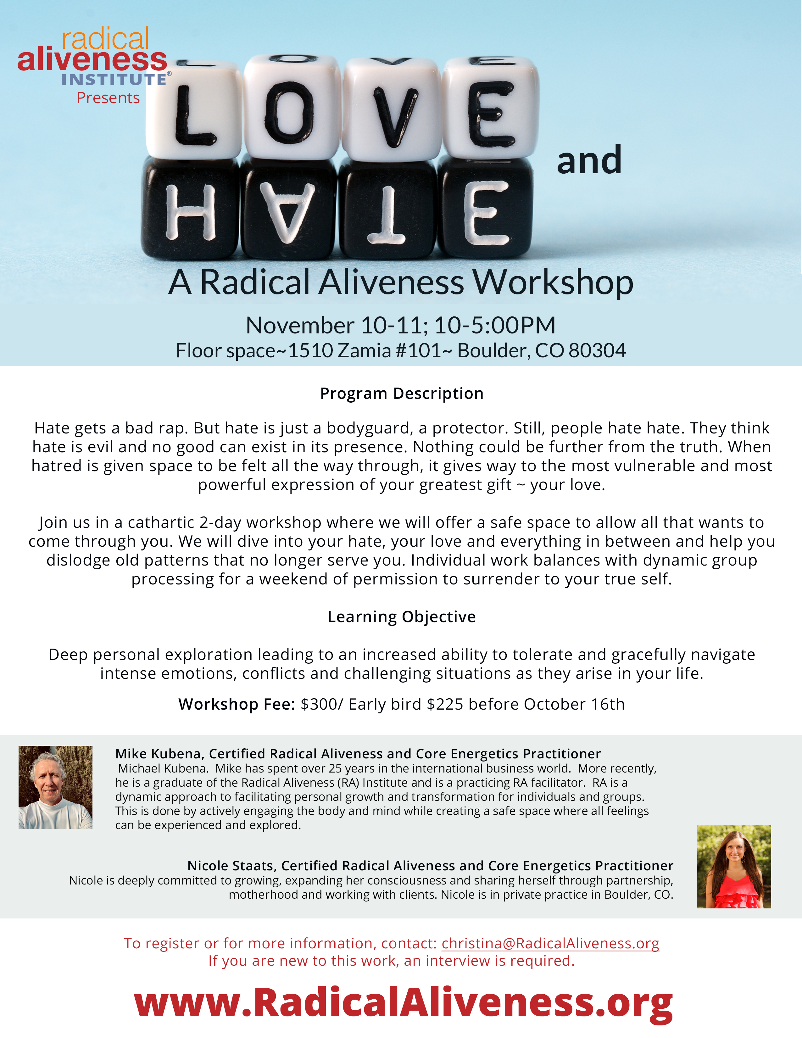 LOVE and HATE: A Radical Aliveness Workshop @ Floor space | Boulder | Colorado | United States
