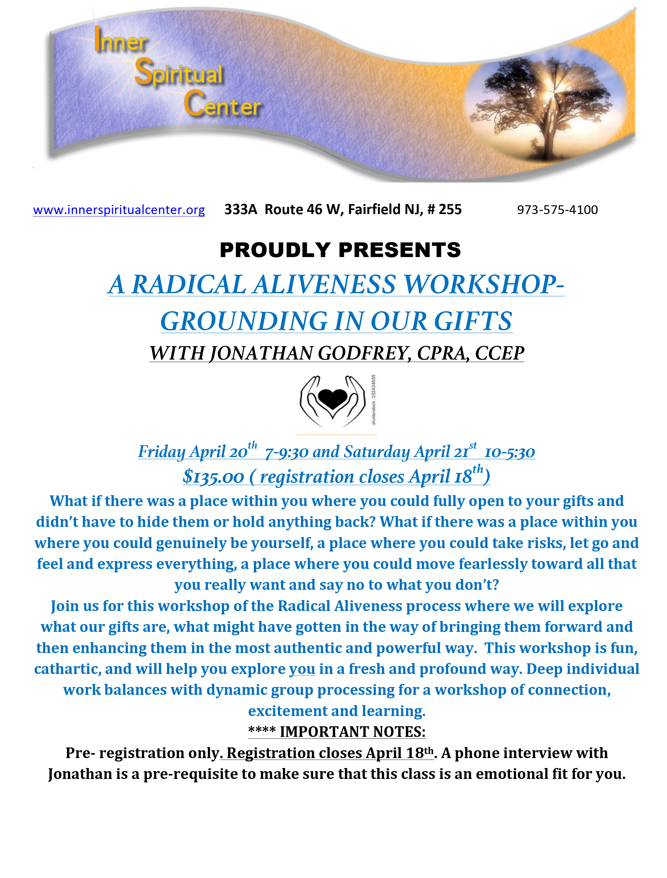 A Radical Workshop - Grounding in Our Gifts @ Inner Spiritual Center | Fairfield | New Jersey | United States
